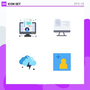 Flat Icon Pack of 4 Universal Symbols of business, lightning, live, education, weather Editable Vector Design Elements icon