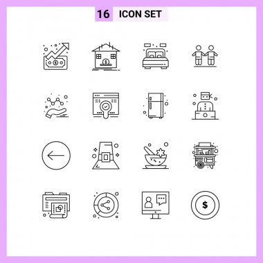 Universal Icon Symbols Group of 16 Modern Outlines of analytics, friendship, bank, friends, bed Editable Vector Design Elements icon