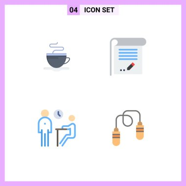 User Interface Pack of 4 Basic Flat Icons of tea, interview, hotel, knowledge, meeting Editable Vector Design Elements icon
