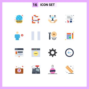 Universal Icon Symbols Group of 16 Modern Flat Colors of electricity, avatar, hand, chart, medical Editable Pack of Creative Vector Design Elements icon