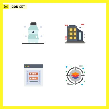 Editable Vector Line Pack of 4 Simple Flat Icons of bottle, login, water, skyscraper, phishing Editable Vector Design Elements icon