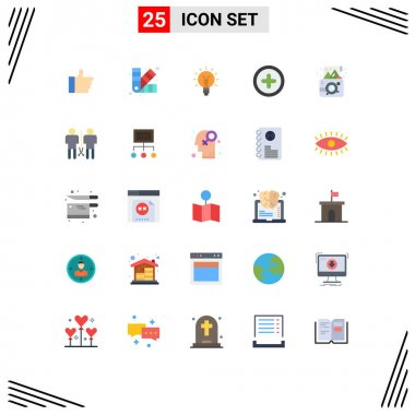 Stock Vector Icon Pack of 25 Line Signs and Symbols for birthday, plus, lightbulb, basic, lamp Editable Vector Design Elements icon