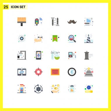 Stock Vector Icon Pack of 25 Line Signs and Symbols for letter, male, construction, movember, moustache Editable Vector Design Elements icon