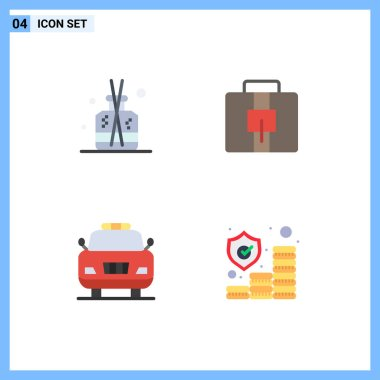Pack of 4 Modern Flat Icons Signs and Symbols for Web Print Media such as aroma, police, spa, suitcase, investment Editable Vector Design Elements icon