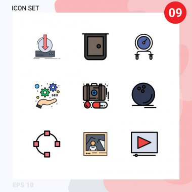 Stock Vector Icon Pack of 9 Line Signs and Symbols for seo, development, home, training, hiit Editable Vector Design Elements icon