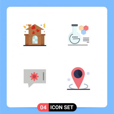 4 User Interface Flat Icon Pack of modern Signs and Symbols of family, chat setting, people, chemistry lab, data Editable Vector Design Elements icon