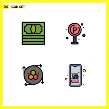 4 Creative Icons Modern Signs and Symbols of cash, modeling application, city, board, cart Editable Vector Design Elements icon