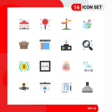 Stock Vector Icon Pack of 16 Line Signs and Symbols for business, bag, camping, map, process Editable Pack of Creative Vector Design Elements icon