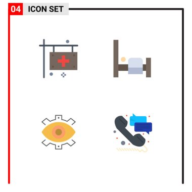 Flat Icon Pack of 4 Universal Symbols of care, creative, health, bedroom, business Editable Vector Design Elements icon