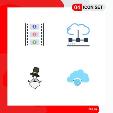 Set of 4 Commercial Flat Icons pack for film reel, hipster, cloud, media, santa clause Editable Vector Design Elements icon