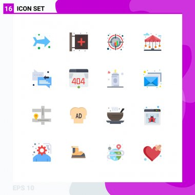 16 Creative Icons Modern Signs and Symbols of chat, park, chart, city, trend Editable Pack of Creative Vector Design Elements icon