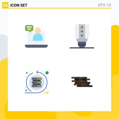 Set of 4 Commercial Flat Icons pack for business, scrum, meeting, light, server Editable Vector Design Elements icon