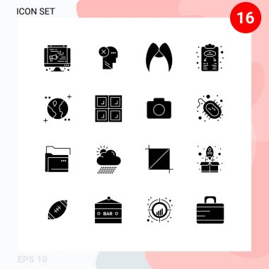 Stock Vector Icon Pack of 16 Line Signs and Symbols for plan, business plan, mind, men, movember Editable Vector Design Elements icon