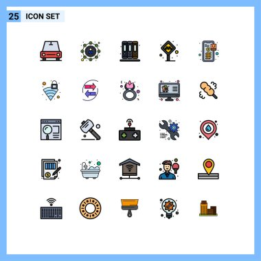 Stock Vector Icon Pack of 25 Line Signs and Symbols for payment, banking, education, taxi stand, stand Editable Vector Design Elements icon