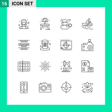 Stock Vector Icon Pack of 16 Line Signs and Symbols for party decoration, water, rock, training, boat Editable Vector Design Elements icon