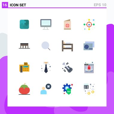Stock Vector Icon Pack of 16 Line Signs and Symbols for columns, arch, business card, target, audience Editable Pack of Creative Vector Design Elements icon