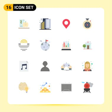 Stock Vector Icon Pack of 16 Line Signs and Symbols for hotel, timer, district, compass, pin Editable Pack of Creative Vector Design Elements icon