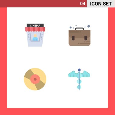 Pack of 4 creative Flat Icons of cinema, disk, theater, school, medical Editable Vector Design Elements icon