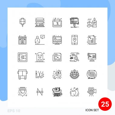 Stock Vector Icon Pack of 25 Line Signs and Symbols for candle, promo, calendar, billboard, advertisement Editable Vector Design Elements icon
