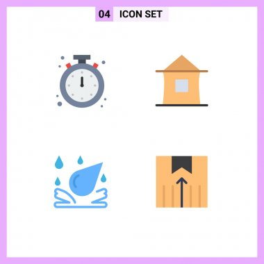 Flat Icon Pack of 4 Universal Symbols of alarm, shack, mobile, home, spa Editable Vector Design Elements icon
