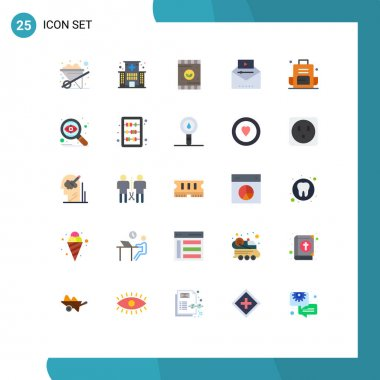 Stock Vector Icon Pack of 25 Line Signs and Symbols for backpack, video marketing, agriculture, video advertising, famous video Editable Vector Design Elements icon