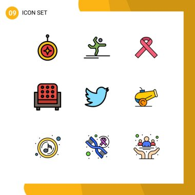 Stock Vector Icon Pack of 9 Line Signs and Symbols for social, sofa, stretching, seat, furniture Editable Vector Design Elements icon