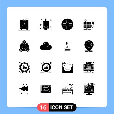 Stock Vector Icon Pack of 16 Line Signs and Symbols for cloud, group, screwdriver, employee, plug Editable Vector Design Elements icon