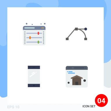 Pack of 4 creative Flat Icons of equalizer, mobile, web setting, point, iphone Editable Vector Design Elements icon