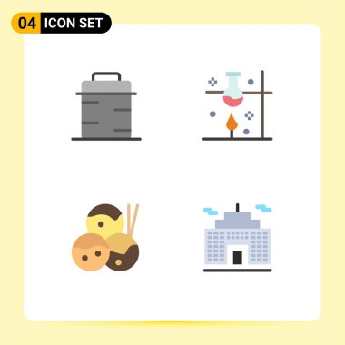 Pack of 4 creative Flat Icons of pan, food, giving, science, takoyaki Editable Vector Design Elements icon