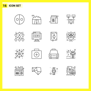 Stock Vector Icon Pack of 16 Line Signs and Symbols for valentine's day, decoration, food, technology, internet Editable Vector Design Elements icon