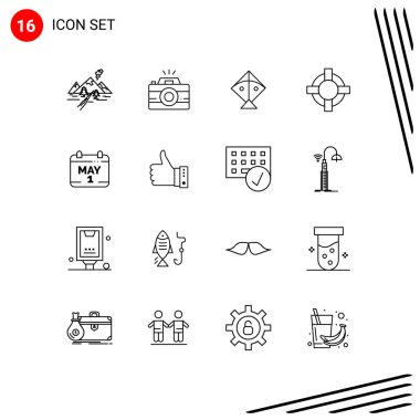 Stock Vector Icon Pack of 16 Line Signs and Symbols for day, calendar, photography, support, help Editable Vector Design Elements icon
