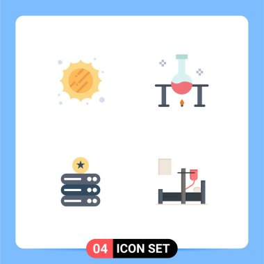 Stock Vector Icon Pack of 4 Line Signs and Symbols for sun, data storage, laboratory, science experiment, storage Editable Vector Design Elements icon