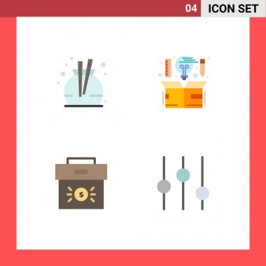 Flat Icon Pack of 4 Universal Symbols of fragrance, business, computer, idea, economy Editable Vector Design Elements icon