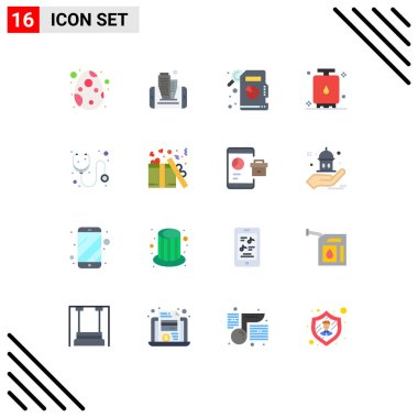 Set of 16 Modern UI Icons Symbols Signs for medicine, doctor, descriptive statistics, tank, gas Editable Pack of Creative Vector Design Elements icon