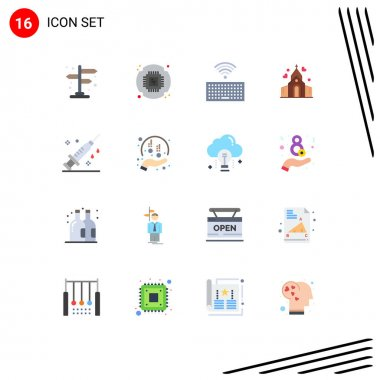 16 Creative Icons Modern Signs and Symbols of vaccine, medical, keyboard, healthcare, wedding Editable Pack of Creative Vector Design Elements icon