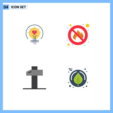 Pack of 4 Modern Flat Icons Signs and Symbols for Web Print Media such as bulb, carpentry, light bulb, fire, tools Editable Vector Design Elements icon
