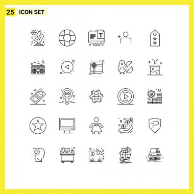 Stock Vector Icon Pack of 25 Line Signs and Symbols for communication, tag, font, star, military Editable Vector Design Elements icon