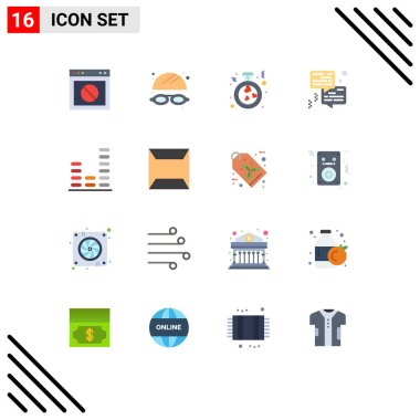 Set of 16 Modern UI Icons Symbols Signs for equalizer, printer, heart, communication, bubble Editable Pack of Creative Vector Design Elements icon