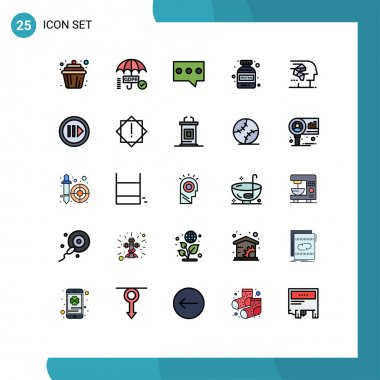 Stock Vector Icon Pack of 25 Line Signs and Symbols for human, artificial, bubble, android, protein Editable Vector Design Elements icon