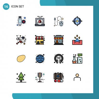 Stock Vector Icon Pack of 16 Line Signs and Symbols for charge, extension, computer, product, deployment Editable Creative Vector Design Elements icon