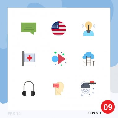 Stock Vector Icon Pack of 9 Line Signs and Symbols for arrow, leaf, idea, canada, flag Editable Vector Design Elements icon