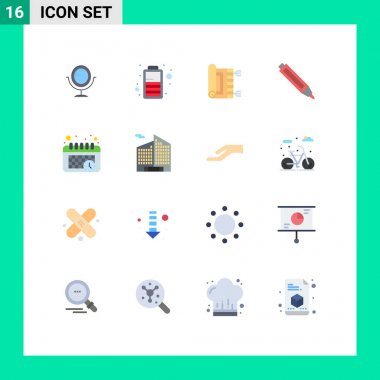 Set of 16 Modern UI Icons Symbols Signs for business, time, pray, schedule, pencil Editable Pack of Creative Vector Design Elements icon