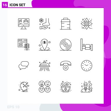 Stock Vector Icon Pack of 16 Line Signs and Symbols for database, flower, therapy, autumn, giving Editable Vector Design Elements icon