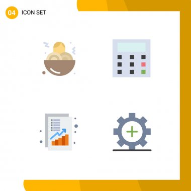 User Interface Pack of 4 Basic Flat Icons of spaghetti, money, calculation, analysis, care Editable Vector Design Elements icon