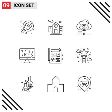Stock Vector Icon Pack of 9 Line Signs and Symbols for estate, lock, vision, screen, dmca protection Editable Vector Design Elements icon