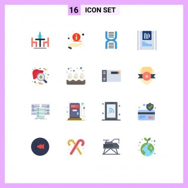 Set of 16 Modern UI Icons Symbols Signs for checkup, data, biology, graphy, school Editable Pack of Creative Vector Design Elements icon