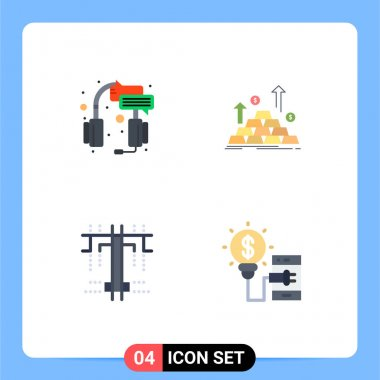 Flat Icon Pack of 4 Universal Symbols of center, growth, service, coin, process Editable Vector Design Elements icon