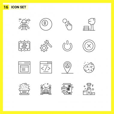 Stock Vector Icon Pack of 16 Line Signs and Symbols for setting, share, reload, data, tree Editable Vector Design Elements icon