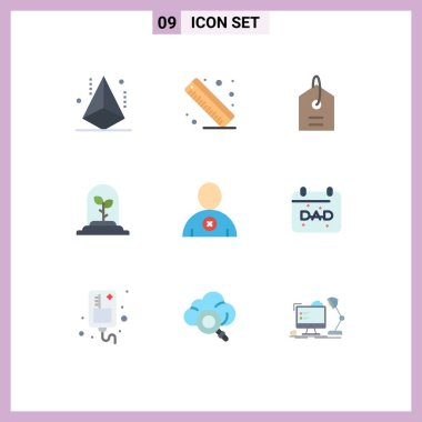 Stock Vector Icon Pack of 9 Line Signs and Symbols for calendar, man, price, delete, leaf Editable Vector Design Elements icon