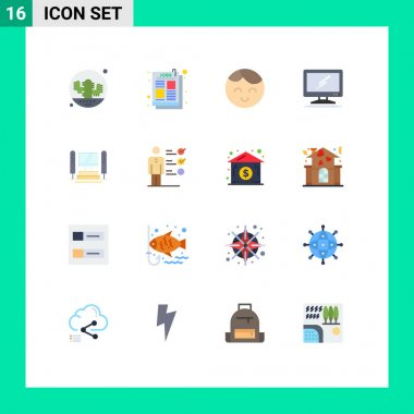 Stock Vector Icon Pack of 16 Line Signs and Symbols for computer, imac, job ad, device, computer Editable Pack of Creative Vector Design Elements icon